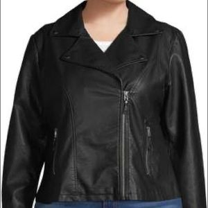 Max Studio Plus Size  Faux Leather Moto Jacket